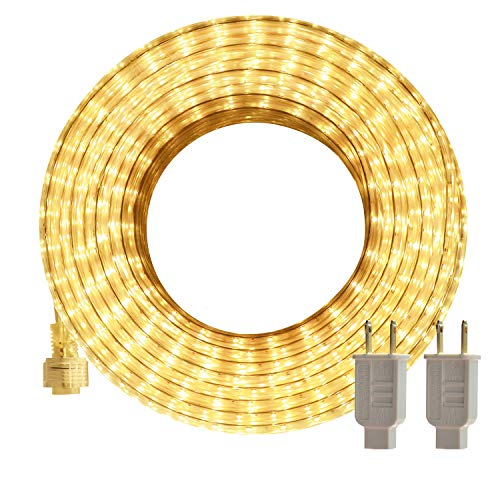 LED Rope Lights Outdoor SURNIE Warm White 50ft Waterproof Flexible, Strip Lights Kit Connectable, Cuttable, 110V 3000K Indoor UL Certified Decorative Lighting Location Garden Stairs Balcony Party