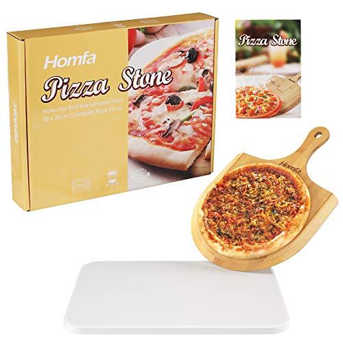 Homfa Pizzastein Pizza Set Backofen und Gasgrill Pizza Stein mit Bambuspizzaschaufel und Rezept Backstein in Cordierite