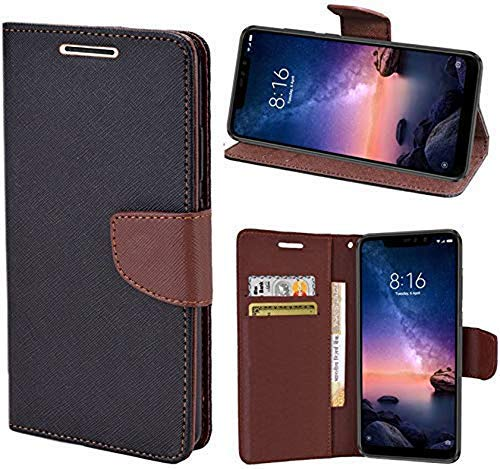 Wurzel Flip Cover for Poco M2, Luxury Look Wallet Stand Flip Cover Case for Poco M2 (Brown, Black)