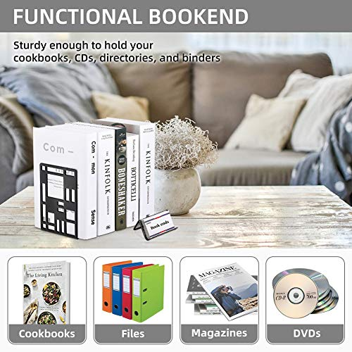 Book Support,Metal Bookends for Shelves Decorative Black Book Ends for School Home Heavy Duty Book Stopper Non Skid Sturdy Bookend Supports,Modern Bookend Holder for Office Kitchen with 1 Card Holder Photo #6
