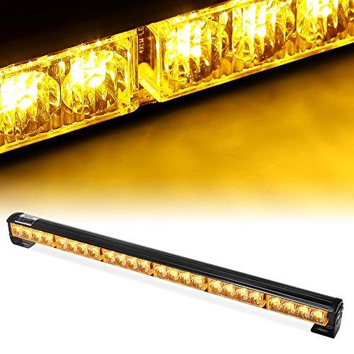 "Rupse 24 LED 27"" Hazard Emergency Warning Tow Traffic Advisor Flash Strobe Light Bar (Yellow)"