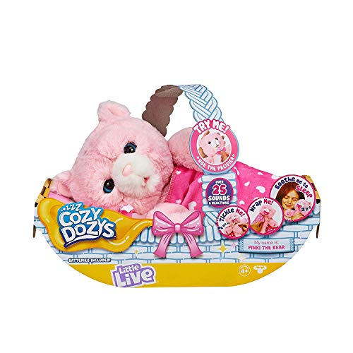 Little Live Pets Cozy Dozy Pinki The Bear - Over 25 Sounds and Reactions | Bedtime Buddies, Blanket and Pacifier Included | Stuffed Animal, Best Nap Time, Interactive Teddy Bear