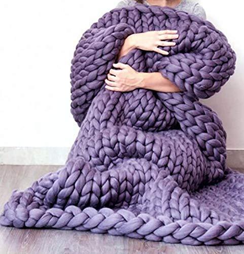 Handgefertigtes Chunky Gestrickte Wolldecke, Überwurf Mode Sofa Decken Yoga Matte Teppich Große Weiche Super Große Klobige Stricken Decke Haustier Bett Stuhl Sofa,Lavendel,200 * 200cm