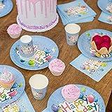 UMOI Einweg Geburstag Partygeschirr Set - 30 Hochwertige Pappteller, 30 Pappbecher und 60 Servietten für den Kindergeburstag 120tlg. (Geburtstag Ballon) - 6