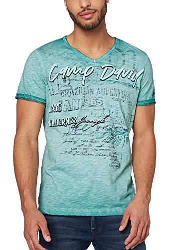 Camp David Herren T-Shirt mit V-Neck und Print Artwork