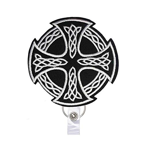 Reeleer Celtic Cross Badge Reels Retractable, with Alligator Clip and Key Ring, 24 inches Thick Pull Cord