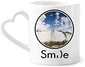 cold master DIY lab Waterfall Forestry Science Nature Scenery Smile Pattern Mug Cup Pottery Heart Handle