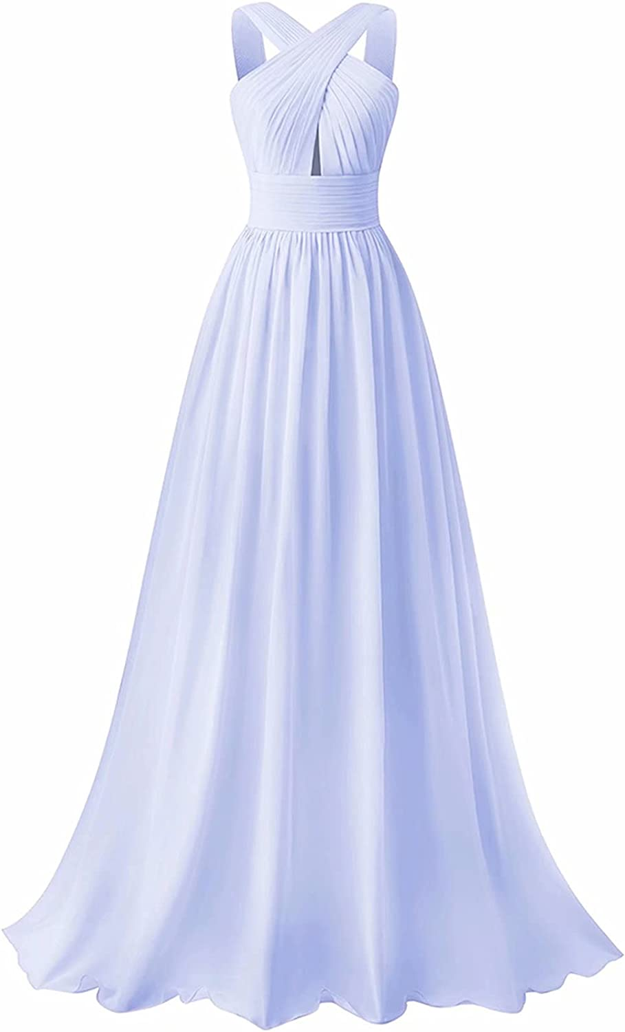 SMORBRID Crisscross Neck Bridesmaid Dress Long Chiffon Pleated Formal Prom Dress for Wedding Party Gown