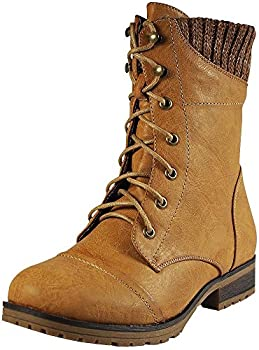 REFRESH WYNNE Women's Combat Style Lace Up Ankle Bootie