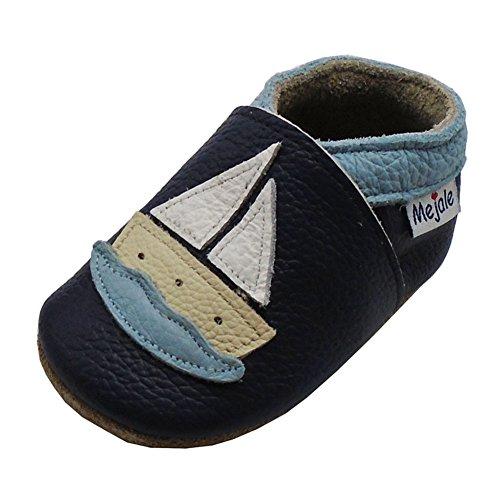 Mejale Caricature Cuir Chaussures bébé Chaussons bébé Chaussures pour Enfants Chaussons - - Dunkelblau, Segelboot, 24-36 Monate/6.18 zoll
