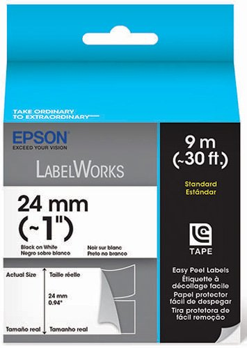 Epson LabelWorks Standard Easy Peel Label Tape Cartridge ~ 1-Inch Black on White (LC-6WBN9) Photo #2