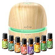Essential Oil Diffuser Set, Anjou 300ml Ultrasonic Aroma Oils Diffuser Gift Set with 8 Essential Oils for Quiet Constant Aromatherapy, 7 Color Lights Timer