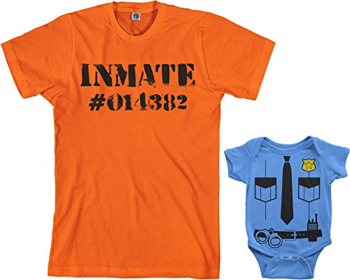 Police Officer & Inmate Infant Bodysuit & Men's T-Shirt Halloween Costume Set (Baby: 12M, Light Blue Men's: L, Orange)