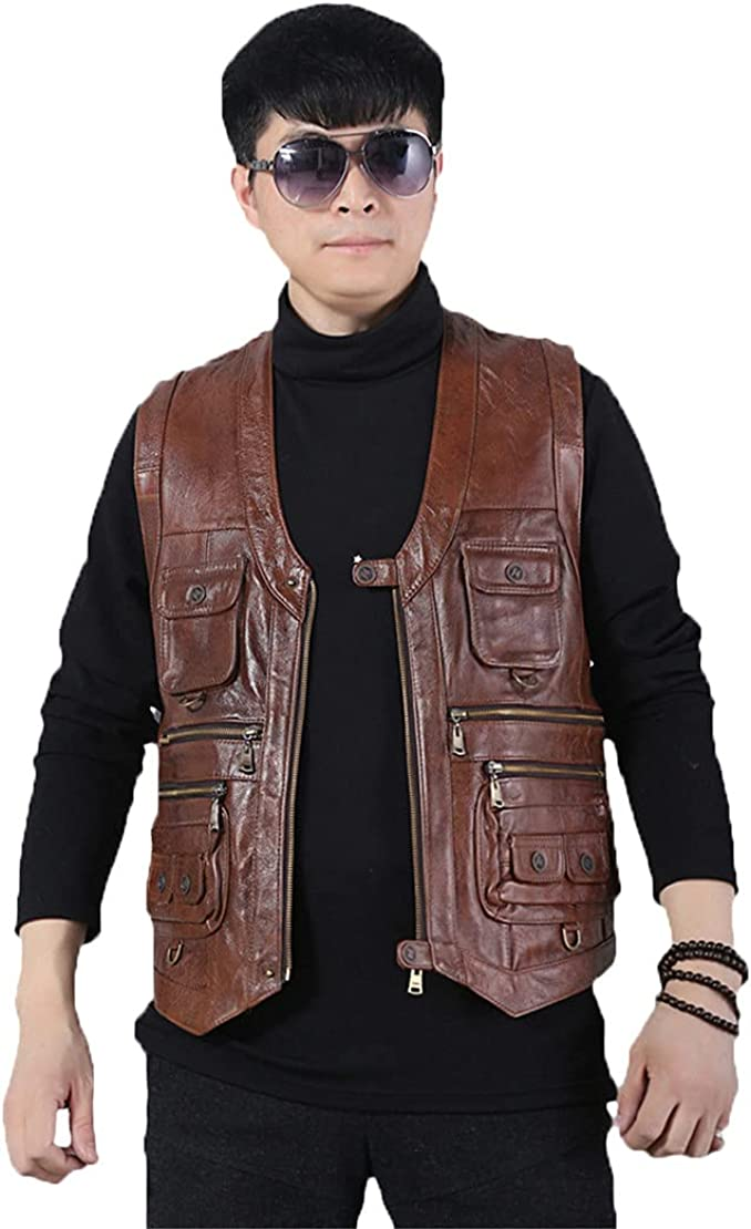 Men's Real Motorcycle Biker Waistcoat, Multiple Pockets Genuine Leather Vest, Sleeveless Jacket Tank Top