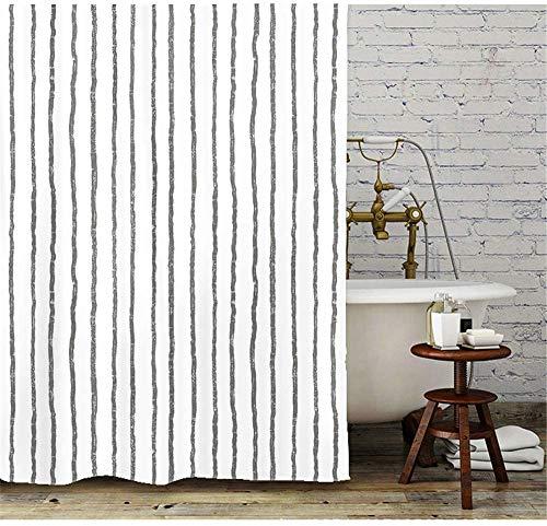Gordijn Douchegordijn -1 * 71inches zwarte en witte strepen Douche Gordijn Met Haken (behandeld om aantasting als gevolg van Meeldauw Resist) douche Liner for badkamer