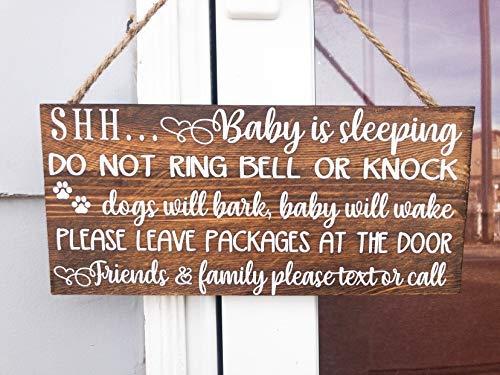 Modtory Shh Baby is Slapen niet Ring Bell of Knock, Honden zullen blaffen, Baby zal Wake, Laat Pakket bij de Deur. Houten voordeur bord