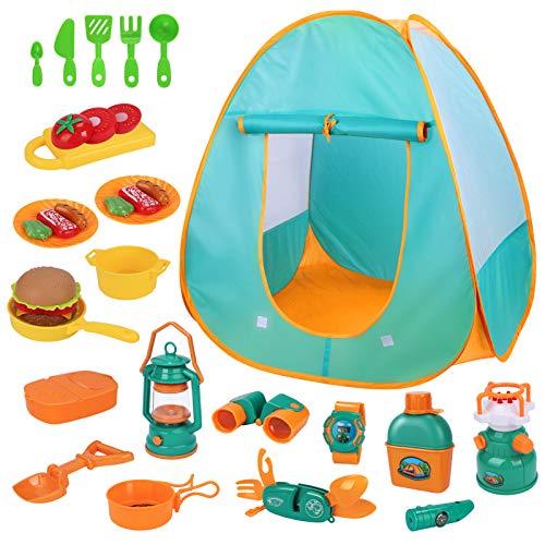 Kinder Spielzelt Baby Camping Toys Set, Pop-Up-Spielzelt mit Camping Spielzeug für Kleinkinder, Jungen und Mädchen Kinder Abenteuer für Zuhause & im Garten