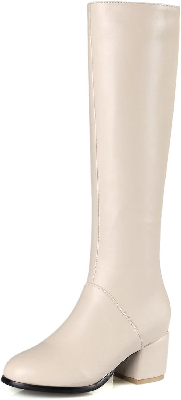 DoraTasia Pointed Toe Mid Heel Women's Knee High Boots