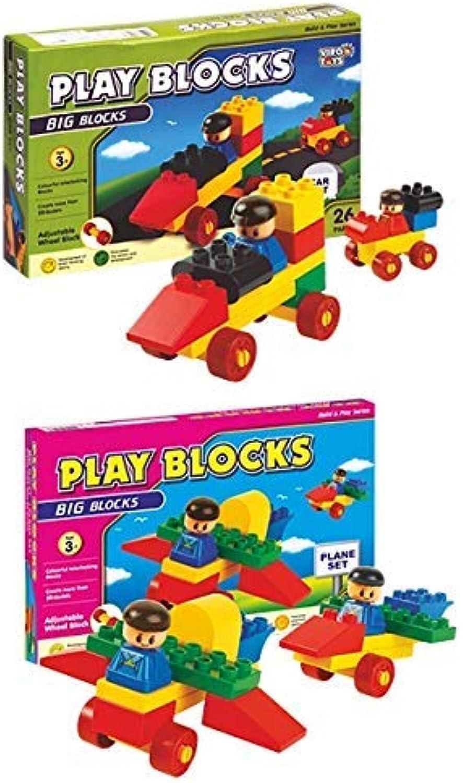 VIRGO Toys Play Blocks Car Set & Plane Set (Combo)