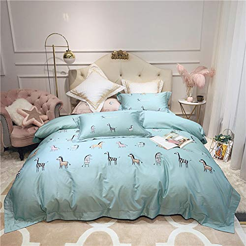 Great Features Of QINSHAN Bedding Kit Modern and Simple Digital Printing Cartoon Pony Pattern Blue C...