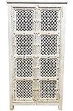 Armario grande oriental Joumana de 185 cm de alto, armario marroquí vintage estrecho | armarios orientales de madera maciza para pasillo, dormitorio, salón o baño