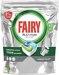 Fairy Platinum Todo en Uno Normal cápsulas de Lavavajillas, 43 cápsulas, para los restos más difícil