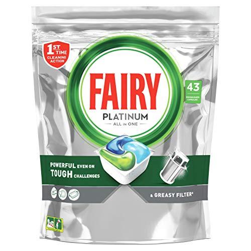 Fairy Platinum Todo en Uno Normal cápsulas de Lavavajillas, 43 cápsulas, para los restos más difíciles, limpia incluso la grasa de los filtros