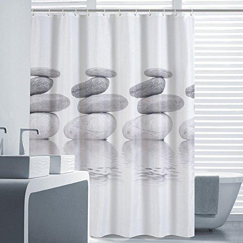 Rideau de douche anti-moisissure et imperméable 100 % polyester Impression numérique motif galets avec ourlet renforcé, avec anneaux de rideau de douche, 180 x 180 cm, 120x180cm