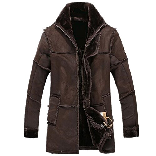 Allonly Men's Vintage Sheepskin Jacket Fur Leather Jacket Cashmere Shearling Coat, Chocolate, US Large