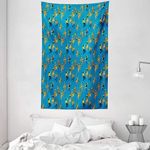 ABAKUHAUS Karneval Wandteppich, Männer und Frauen in den Kostümen, aus Weiches Mikrofaser Stoff Für das Wohn und Schlafzimmer, 140 x 230 cm, Sea Blue und Multicolor