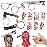 BigOtters Halloween Headbands, 23PCS Halloween Horror Set Including 5PCS Headwear Cleaver Bloody Headpieces and 18PCS Zombie Tattoos Stickers for Tricky Toys Costume Party Supplies