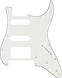 Musiclily Pro 11-Hole Modern Style Strat HSS Guitar Pickguard for American/Mexican Fender Stratocaster Floyd Rose Bridge Cut, 3Ply Parchment