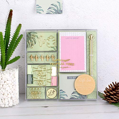 Gold Green Stationery Kit Gift Set Blank Ink Ballpoint Pen Cactus Thumb Tacks Pins Paper Binder Clips Sticky Notes Badge Office Desktop Accessories, Mint Green