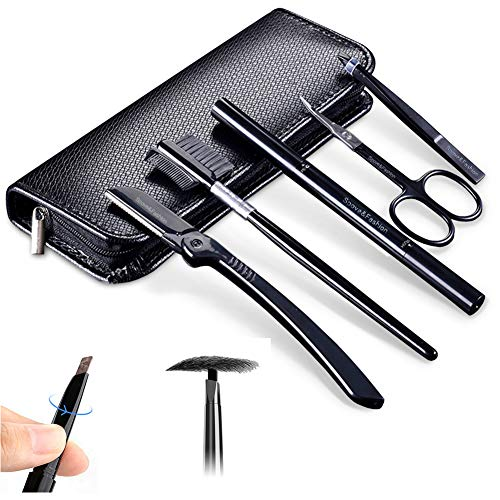 Eyebrow Kit, 5 pcs Mens Eyebrow Gromming Professional Eyebrow Tweezers Scissors & Eyebrow Razor & Dual-ended Eyebrow Pencil in Black Pu Case for Men Eyebrow Shaping Make up Tools (Black)
