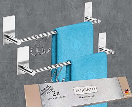 [2X] BORBETO® Handtuchstange [40cm] – OHNE Bohren – MARKENKLEBER – Hochwertige Edelstahloptik – [3] Handtuchhaken Inklusive – Handtuchhalter für Küche und Bad