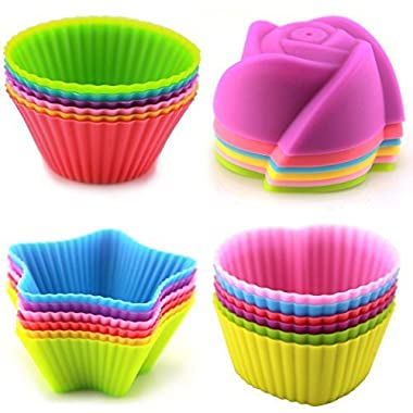 LENK Silicone Baking Cups,Set of 24 Reusable BPA Free Nonstick Cupcake Liners,4 Shapes 6 Colors Food Grade Muffin Molds With High Heat Resistance For Cupcakes, Muffins, Gelatin and Frozen Desserts