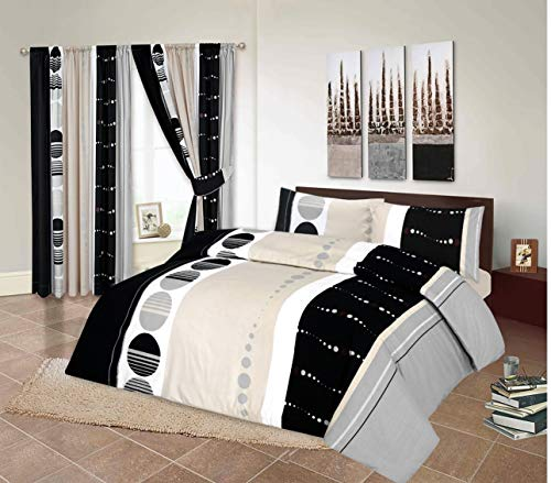 RayyanLinen ASHAR GREY SILVER WHITE BLACK PRINTED DUVET COVER BEDDING SET WITH PILLOWCASES (King)