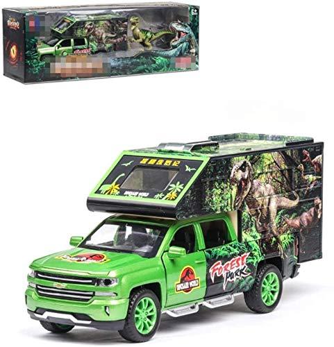 KJAEDL Modelo de Coches para niños Modelo de Auto de fundición Diecast Pull Back Modelo Real 1:32 Transportador de Dinosaurios