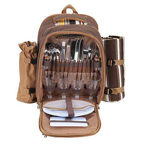 Kacsoo Picknick-Rucksack für 4 Personen, Kühltasche mit Geschirr-Set und Decke für Familien, Outdoor, Camping, 30 x 19,8 x 41,4 cm (Kaffee)