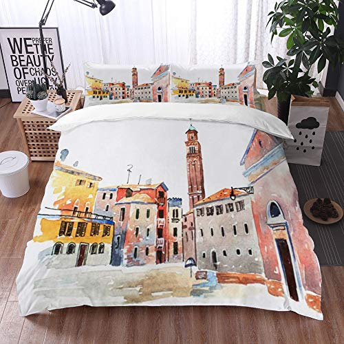 Mingdao bedding - Duvet Cover Set, Facade Colored Watercolor Sketch Old Town Europe Watercolour Hand Famous Urban Venetian Aquarelle,Microfibre Duvet Cover Set 220 x 240 cmwith 2 Pillowcase 50 X 80cm