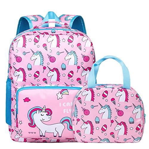 Unicorn Backpack for Girls, Toddler, Kids, Teen, Pink School Bookbag For Elementary Kindergarten Student, Preschool Children With Lunch Bag (age 6-12 years)