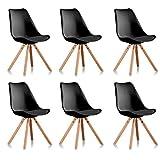 Designetsamaison Lot de 6 chaises scandinaves Noires - Helsinki