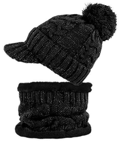dy_mode Damen Mütze und Schal Kombi Set Schirmmütze Bommel mit Innenfutter - A305 (A305-Schwarz)