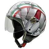 NZI 3D Vintage II Casco de Moto, Mix Bandera Italiana y Detalle de Motocicleta, XL