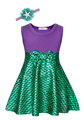 COTRIO Mermaid Costume Girls Princess Dresses Sleeveless Fish Scale Dress with Starfish Headband Halloween Cosplay Size 4T (3-4 Years, Green Purple, 110)