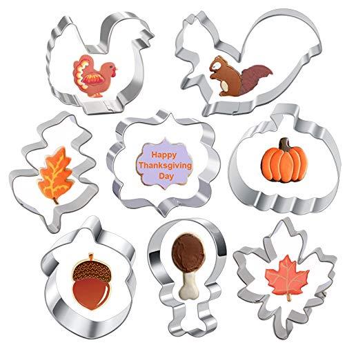 Large Fall Thanksgiving Cookie Cutter Set ShapesThanksgiving-Turkey, Pumpkin, Turkey Leg, Squirrel, Maple, Oak Leaf, Acorn and Plaque Frame Fondant Cookie Cutters 8Pcs