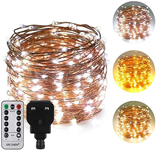 ErChen Dual-Color LED String Lights, 100 FT 300 LEDs Plug in Copper Wire 8 Modes Dimmable Fairy Lights with Remote Timer for Indoor Outdoor Christmas (White/Warm White)