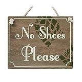 Transomnia Holzschild mit Aufschrift 'Bitte die Schuhe ausziehen' (auf Englisch), 15 cm