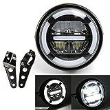 Conjunto de faros de motocicleta Faros LED universales con luces de circulación diurna de luz blanca para Cafe Racer Bobber Chopper Faros delanteros