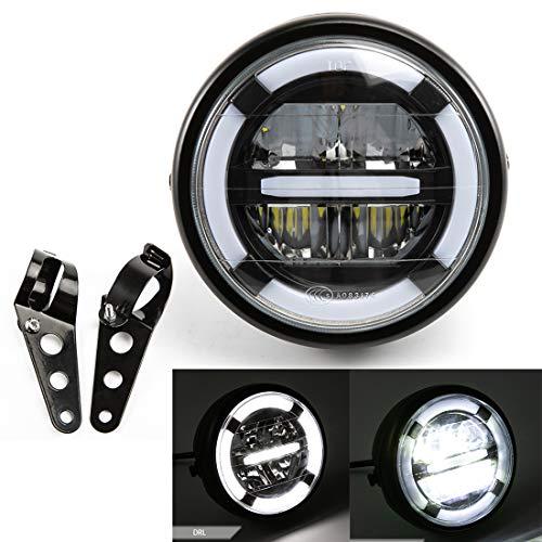 Gruppo faro per moto Fari a LED universali con luci di marcia diurna a luce bianca per Cafe Racer Bobber Chopper Fari anteriori
